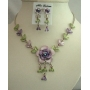 Elegant Necklace Set Two Cute Color Purple Enamel Flower & Green Leaves w/ crystal Necklace Set