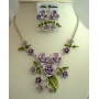 Purple Enamel Flower & Green Leaves Enamel Flower w/ crystal Necklace Set