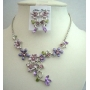 Victorian Purple Enamel Flower w/ Crystals Necklace