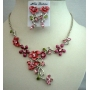 Beautiful Pink Enamel Necklace Set Floral Jewelry w/ Crystals Necklace