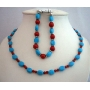 Flat Autumn Oval Turquoise Coral Round Faceted Beads Necklace Bracelet