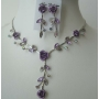 Enamel Crystals Purple Flower Necklace Set Y Shaped