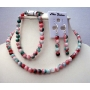 Handcrafted Custom Jewelry Simulated Fancy Agate Bead Necklace Stretchable Bracelet & Sterling Earrings