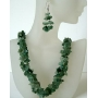 Sterling Silver Green Jade Stone Nugget Chip Handcrafte Necklace Sets