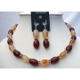 Carnelian & Focal Bead Necklace Set w/ Bali Silver Spacing & Sterling Silver Earrings