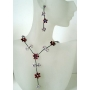 Delicate Pink Enamel Flower Y Shaped Jewelry Set