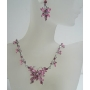 Victorian Pink Crystal Butterfly Necklace Earrings Set Adorned w/ Pink Crystals
