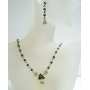 Vintage Necklace Set Peridot And Olive Crystal Jewelry Set Vintage Style