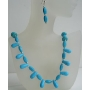 Turquoise Teardrop Barrel & Round Beads Necklace Set Handcrafted Cusotom Jewelry Set