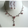 Pink Enamel Jewelry Set Pink Flower & Sparkling Rhinestones Necklace Set w/ Enamel Cute Flower