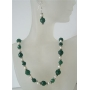 Multifaceted Jade Glass Bead Potato Freshwater Pearl Handcrafted Necklace Set Custom Bead Jewelry Set Earrings