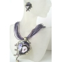 Purple Multi Strands Necklace w/ Ethnic Enameled Pendant w/ Amethyst Crystal