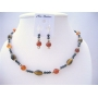 Ethnic Traditional Jewelry Set Tiger Eye Carnelian & Cultured Beads Necklace Set w/ Bali Silver Spacing Sterling Silver Earrings