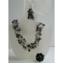 Black Onyx & White Opal Nugget Stone Chips Handcrafte Necklace Earrings & Rings