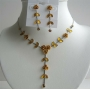Gold Shades Jewelry Sets Enamel Flower necklace Set Y Shaped Dressed w/ Sparkling Crystal