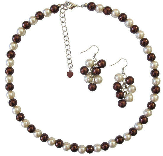 Burnt Brown Pearls Jewelry Set Gift Affordable Wedding Jewelry Ivory Pearls