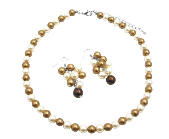 Adorable Grape Set In Wedding Colors Ivory And Latte Pearls Jewelry Set