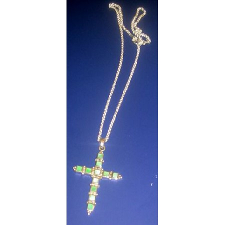 Cross in Peridot Green Stone Sterling Silver 92.5 Stamped