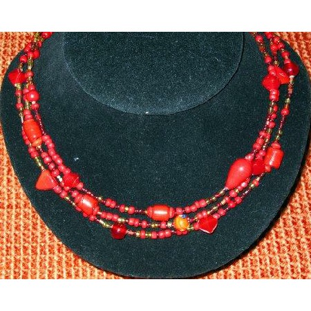 Red Cool Color Necklace 3 strand
