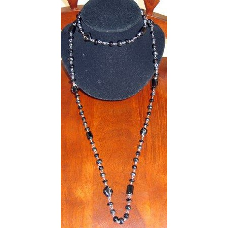 Long Chain Black Beaded accented Necklace