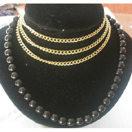Rich Necklace w/ 3 strings gold chain attach to Black Boho bead