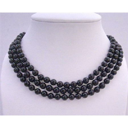 Gorgeous Long Black Pearls Necklace 58 Inches Long Necklace