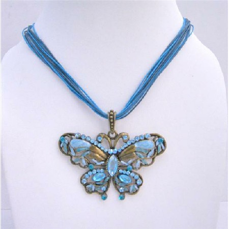 Vintage Butterfly Aquamarine Pendant Multi String Necklace Jewelry
