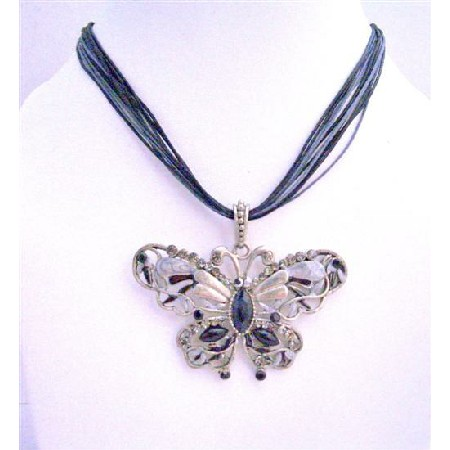 Black Butterfly Multi String Necklace Crystal Necklace Jewelry