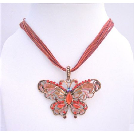 Butterfly Pendant Sexy Red Multi Strings Butterfly Enameled Necklace
