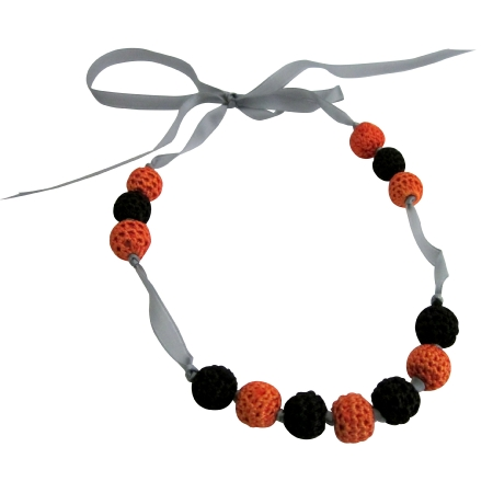 Baby Child Necklace Black Orange Crochet Jewelry Accessory