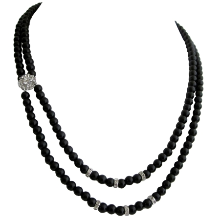 Elegant Wedding or Prom Gift in Black Pearls Diamond Spacer Necklace