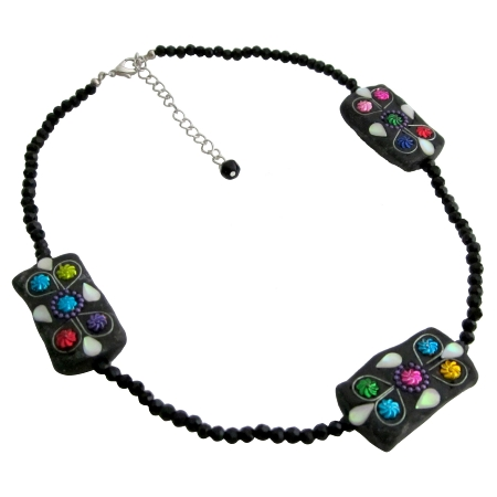 Valentine Mother's Day Gift Black Onyx Bead Handmade Necklace