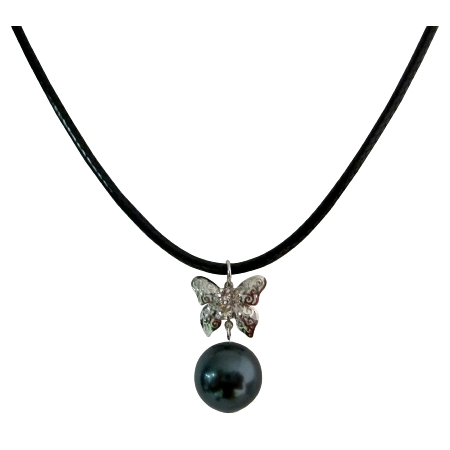 12mm Tahitian Pearl Necklace w/ Diamante Dangling Butterfly