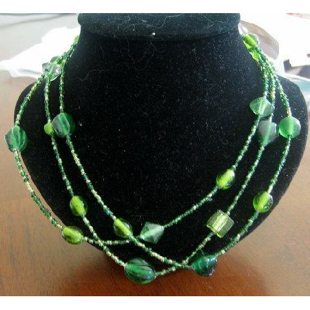 Apple Green Bead 3 Strand Necklace