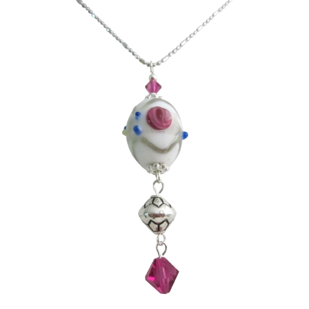 Lampwork Bead Dangling w/ Swarovski Fuchsia Crystals Necklace