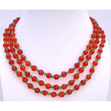 Red 8mm Glass Beads Simulated Green Crystals 60 Inches Long Necklace