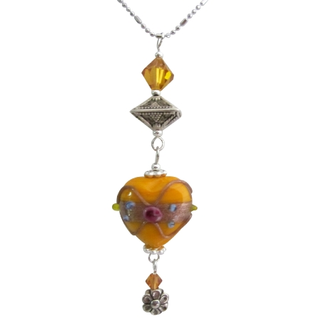 Wire Wrapped Heart Pendant w/ Topaz Crystals Dangling Crystals Necklace