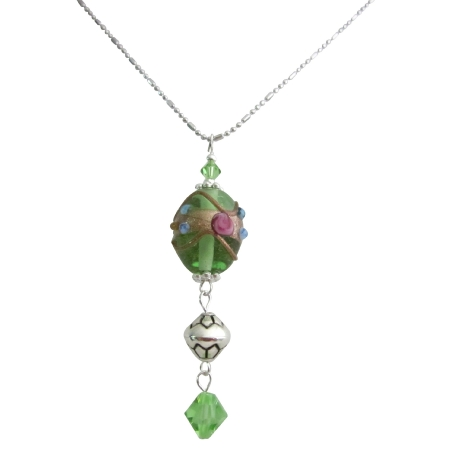 Green Jewelry Silver Plated Desingned Chain Peridot Crystals Necklace