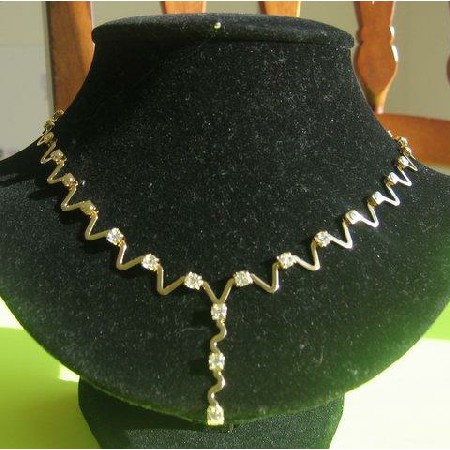Gorgeous Gold Necklace Made in Korea with Cubic Zircon