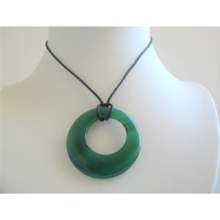 Green Glass Round Pendant Necklace Black Chord Necklace Glass Pendant