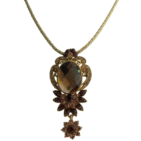 Antique Pendant Vintage Smoked Tapaz Crystals Gold Frame Necklace