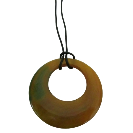 Round Glass Pendant Double Shaded Round Glass Pendant Necklace