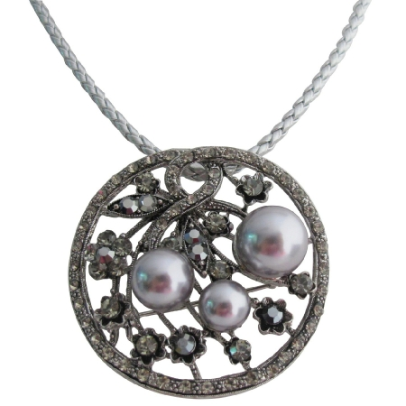 This Enchanting Pendant Gray Pearls Black Diamond Crystals Necklace