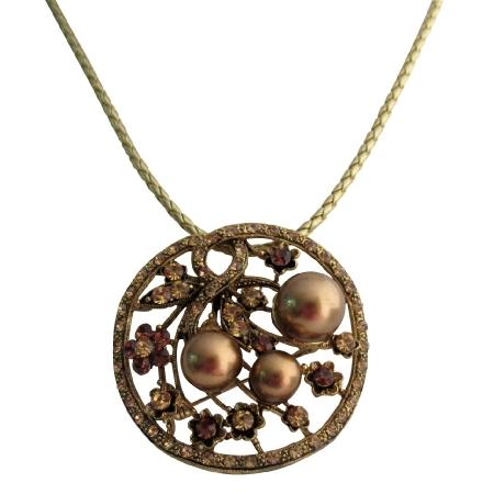 Bronze Pearl Lite Colorado Crystals Smoked Topaz Classy Pendant