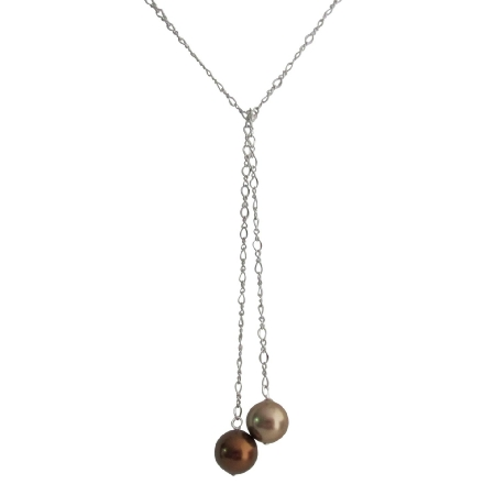 Adjustable Lariat Necklace Wedding Bronze & Brown Pearl Jewelry