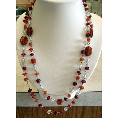 Long 24 inches New Silvertone Chain Dainty Lucite Bead Necklace