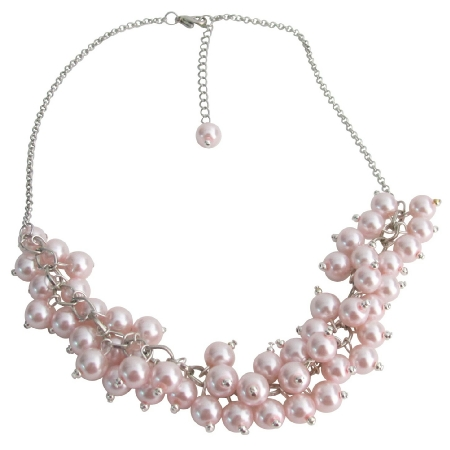 Pink Pearl Cluster Neckace Pink Chunky Pearls Necklace