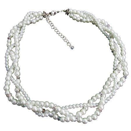 White Pearl Prom Necklace Rhinestones Crystal Twisted Necklace