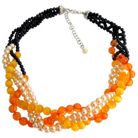 Fall Jewelry Fall Color Black Orange Peach Braid Necklace