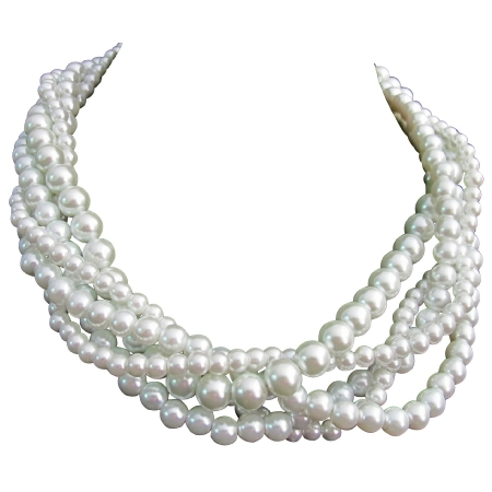 White Pearl 5 Strand Necklace Twisted Five Strand White Necklace